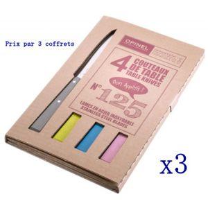 3 Coffrets de 4 couteaux de table Opinel N 125 POP, LOFT,CAMPAGNE