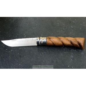 Couteau Opinel N8 en Noyer torsadé