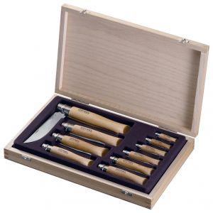 Coffret bois collection de 10 couteaux Opinel, lame inox, manche en Hêtre