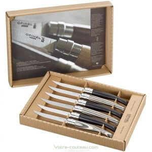 Coffret de 6 couteaux table Opinel CHIC en EBENE et BOULEAU lamellé
